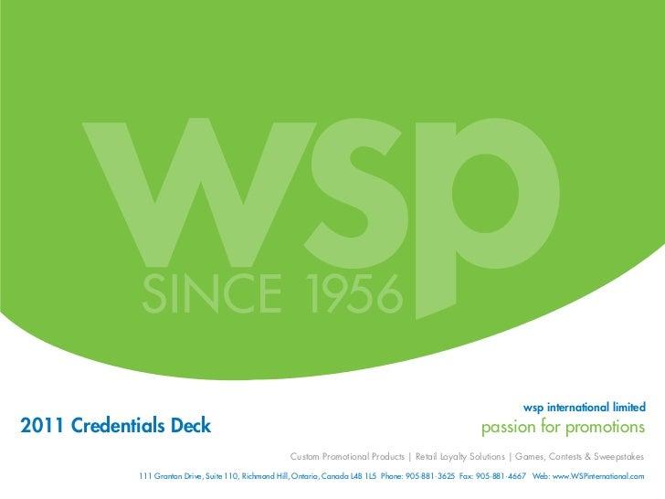 wsp international limited2011 Credentials Deck                                                                            ...