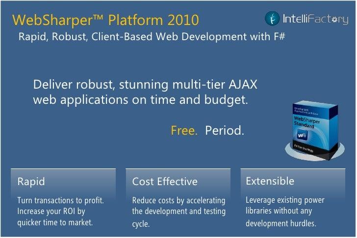 WebSharper™ Platform 2010 Rapid, Robust, Client-Based Web Development with F#         Deliver robust, stunning multi-tier ...