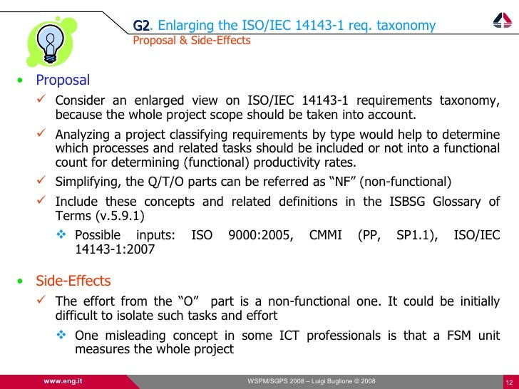G2. Enlarging the ISO/IEC 14143-1 req. taxonomy                   G2                   Proposal & Side-Effects   • Proposa...