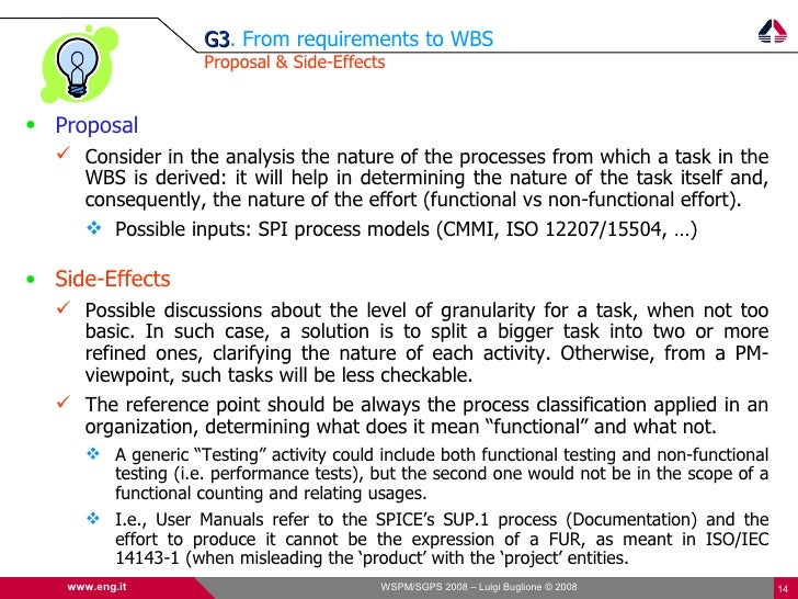 G3. From requirements to WBS                       G3                       Proposal & Side-Effects   • Proposal    Consi...