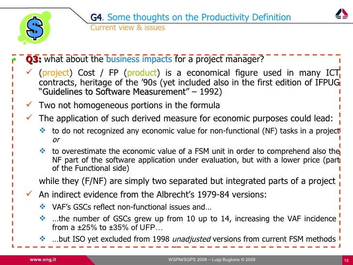 G4. Some thoughts on the Productivity Definition                       G4                       Current view & issues    •...