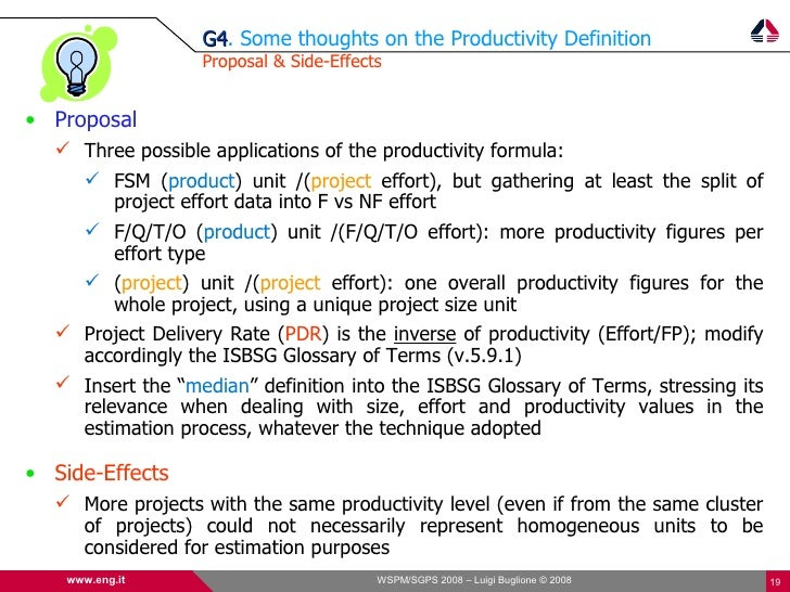 G4. Some thoughts on the Productivity Definition                   G4                   Proposal & Side-Effects   • Propos...