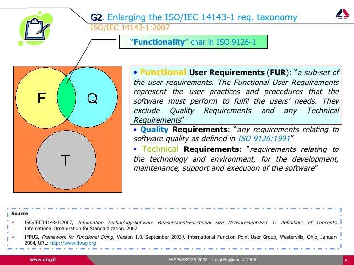 G2. Enlarging the ISO/IEC 14143-1 req. taxonomy                                 G2                                 ISO/IEC...