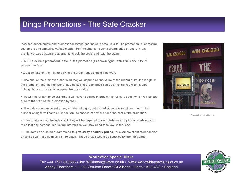 Bingo Promotions - The Safe Cracker  Ideal for launch nights and promotional campaigns the safe crack is a terrific promot...