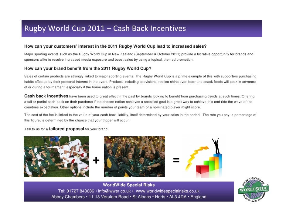 RugbyWorldCup2011– CashBackIncentivesHow can your customers' interest in the 2011 Rugby World Cup lead to increased ...