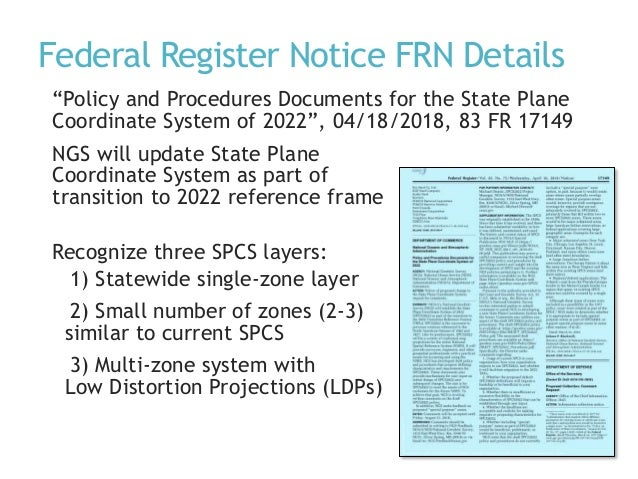 """Federal Register Notice FRN Details """"Policy and Procedures Documents for the State Plane Coordinate System of 2022"""", 04/18..."""