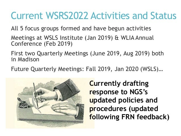 Current WSRS2022 Activities and Status All 5 focus groups formed and have begun activities Meetings at WSLS Institute (Jan...
