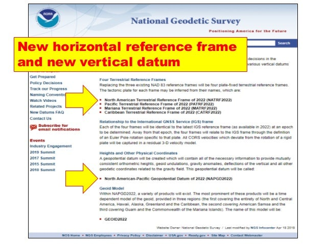 New horizontal reference frame and new vertical datum