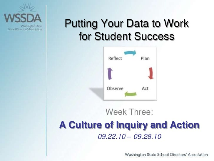Putting Your Data to Work for Student Success<br />Week Three: <br />A Culture of Inquiry and Action<br />09.22.10 – 09.28...