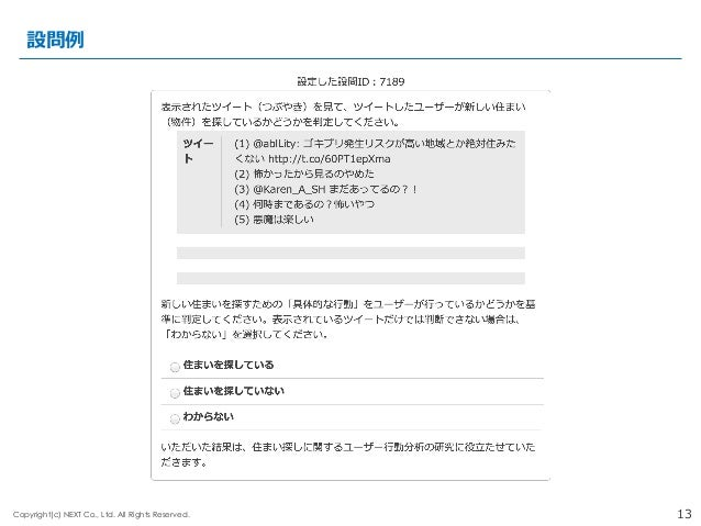 13Copyright(c) NEXT Co., Ltd. All Rights Reserved. 設問例例