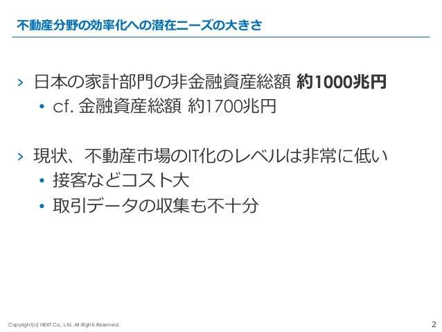 2Copyright(c) NEXT Co., Ltd. All Rights Reserved. › ⽇日本の家計部⾨門の⾮非⾦金金融資産総額 約1000兆円 • cf. ⾦金金融資産総額 約1700兆円 › 現状、不不動産市場のI...