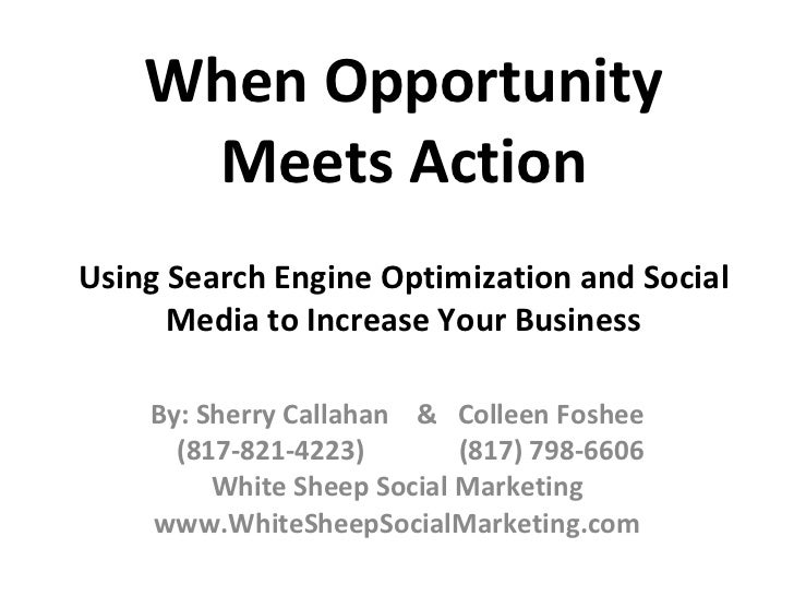 When Opportunity Meets Action Using Search Engine Optimization and Social Media to Increase Your Business By: Sherry Calla...