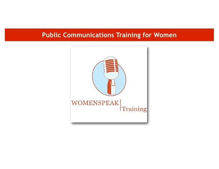 Public Communications Training for Women