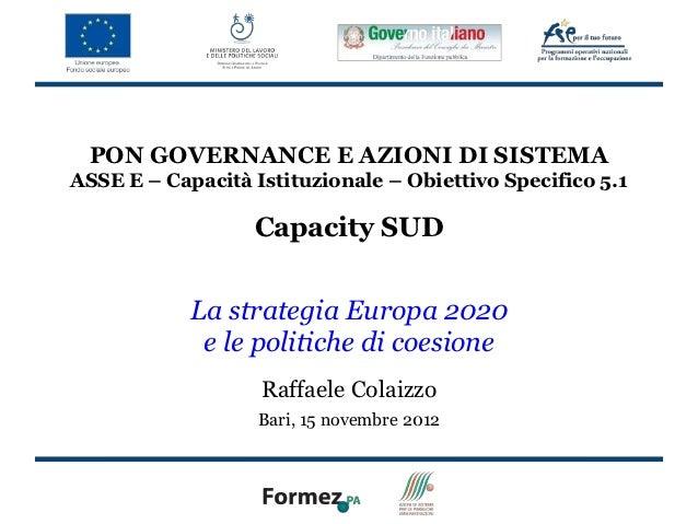 PON GOVERNANCE E AZIONI DI SISTEMAASSE E – Capacità Istituzionale – Obiettivo Specifico 5.1                  Capacity SUD ...