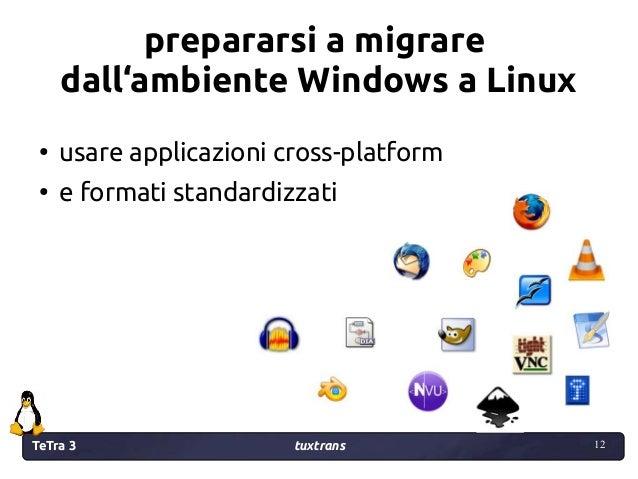 TeTra 3 tuxtrans 12 12 prepararsi a migrare dall'ambiente Windows a Linux ● usare applicazioni cross-platform ● e formati ...