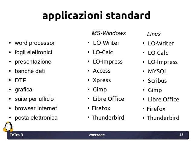 TeTra 3 tuxtrans 13 13 applicazioni standard ● word processor ● fogli elettronici ● presentazione ● banche dati ● DTP ● gr...