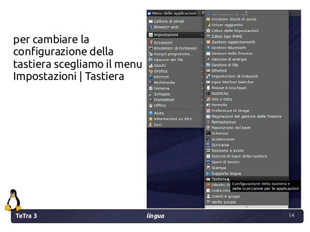 TeTra 3 lingua 14 14 per cambiare la configurazione della tastiera scegliamo il menu Impostazioni | Tastiera