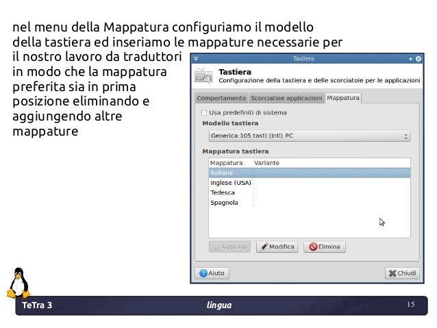 TeTra 3 lingua 15 15 nel menu della Mappatura configuriamo il modello della tastiera ed inseriamo le mappature necessarie ...
