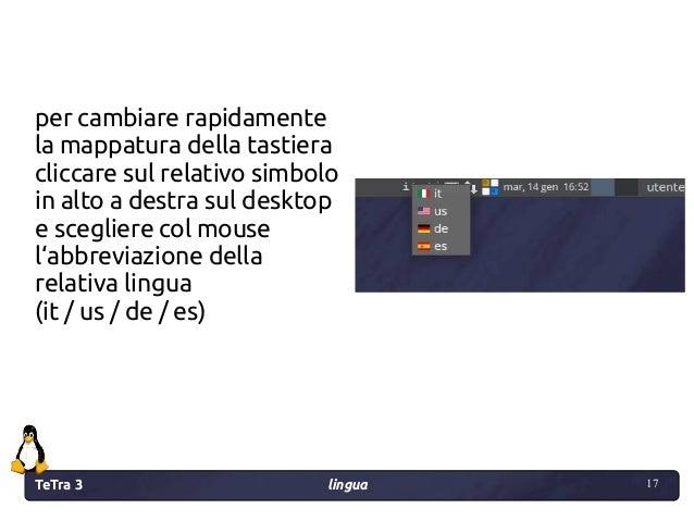 TeTra 3 lingua 17 17 per cambiare rapidamente la mappatura della tastiera cliccare sul relativo simbolo in alto a destra s...