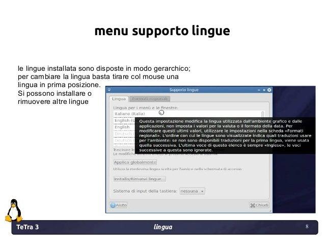 TeTra 3 lingua 8 8 menu supporto lingue le lingue installata sono disposte in modo gerarchico; per cambiare la lingua bast...