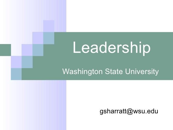 Wsu Leadership Is . . . Revised For November Seminar