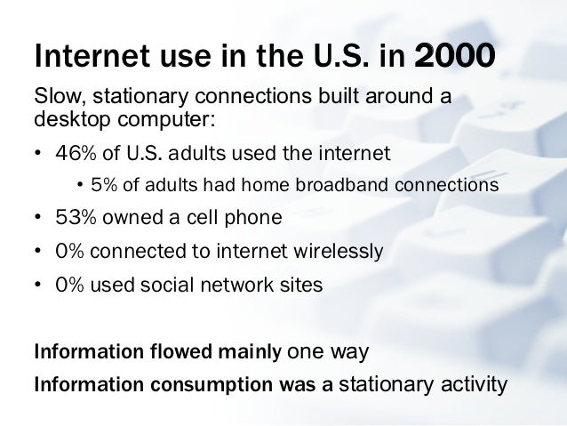 Internet use in the U.S. in 2000Slow, stationary connections built around adesktop computer:• 46% of U.S. adults used the...