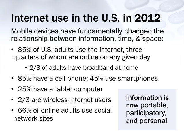 Internet use in the U.S. in 2012Mobile devices have fundamentally changed therelationship between information, time, & spa...