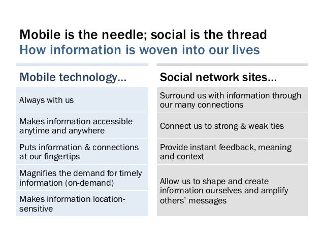 Mobile is the needle; social is the threadHow information is woven into our livesMobile technology…                Social ...
