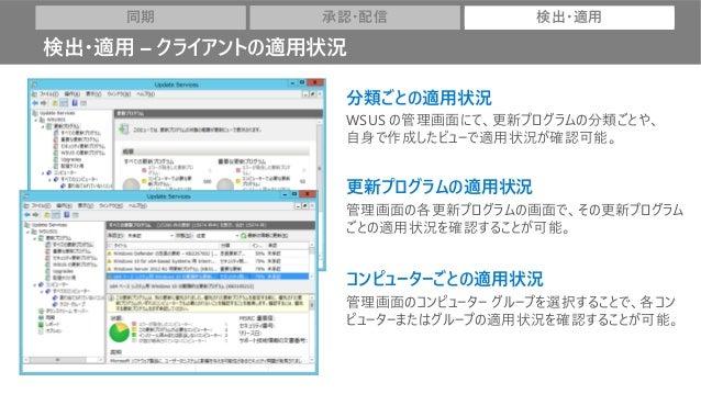 分類ごとの適用状況 WSUS の管理画面にて、更新プログラムの分類ごとや、 自身で作成したビューで適用状況が確認可能。 更新プログラムの適用状況 管理画面の各更新プログラムの画面で、その更新プログラム ごとの適用状況を確認することが可能。 コン...