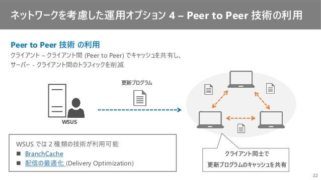 ネットワークを考慮した運用オプション 4 – Peer to Peer 技術の利用 WSUS 更新プログラム クライアント同士で 更新プログラムのキャッシュを共有 Peer to Peer 技術 の利用 クライアント – クライアント間 (Pe...