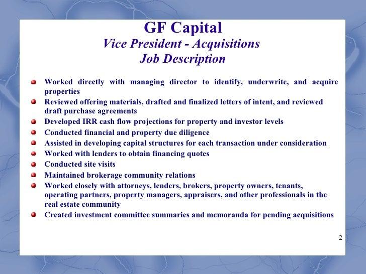 2 gf capital vice president acquisitions job description real estate property manager job description