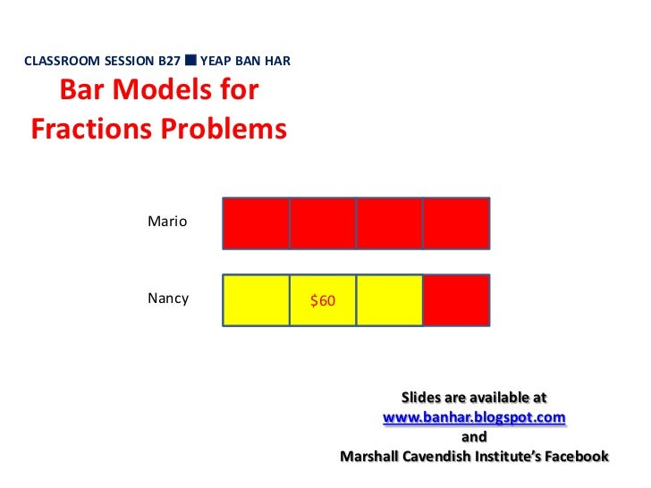 CLASSROOM SESSION B27  YEAP BAN HAR<br />Bar Models for Fractions Problems<br />Mario<br />$60<br />Nancy<br />Slides are...
