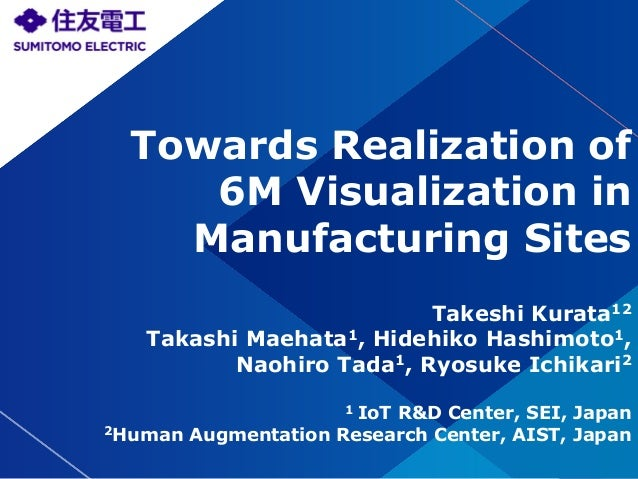 ©2017 Sumitomo Electric Industries, Ltd. All Rights Reserved Towards Realization of 6M Visualization in Manufacturing Site...