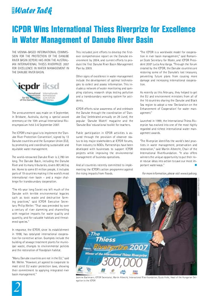 ICPDR Wins International Thiess Riverprize for Excellencein Water Management of Danube River BasinTHE VIENNA-BASED INTERNA...