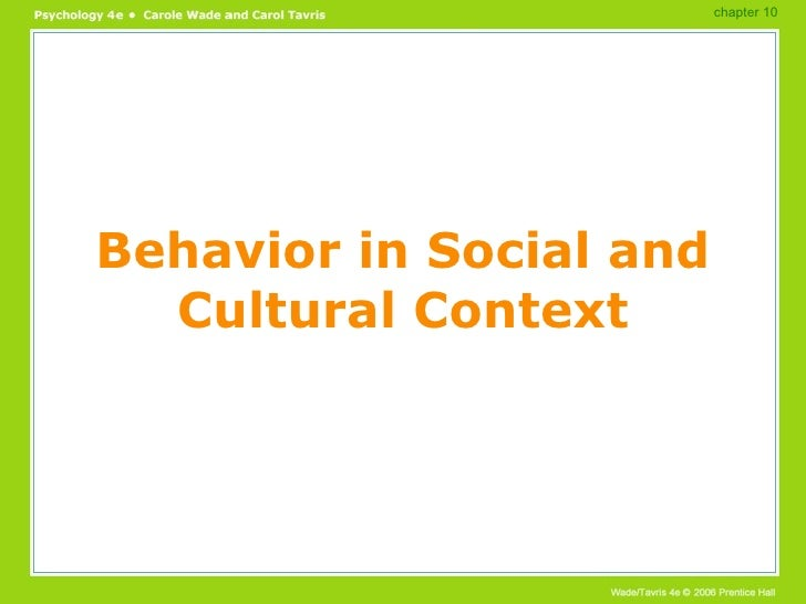 Behavior in Social and Cultural Context chapter 10