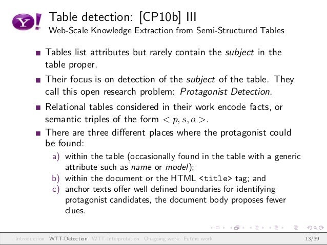 Table detection: [CP10b] III Web-Scale Knowledge Extraction from Semi-Structured Tables Tables list attributes but rarely ...