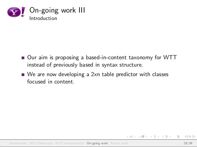 On-going work III Introduction Our aim is proposing a based-in-content taxonomy for WTT instead of previously based in syn...