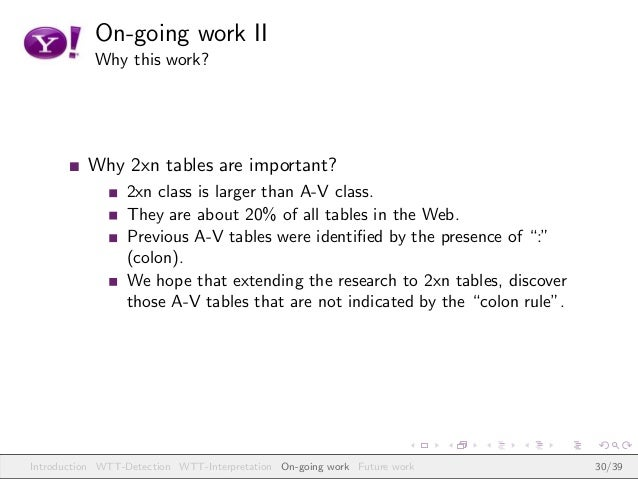 On-going work II Why this work? Why 2xn tables are important? 2xn class is larger than A-V class. They are about 20% of al...