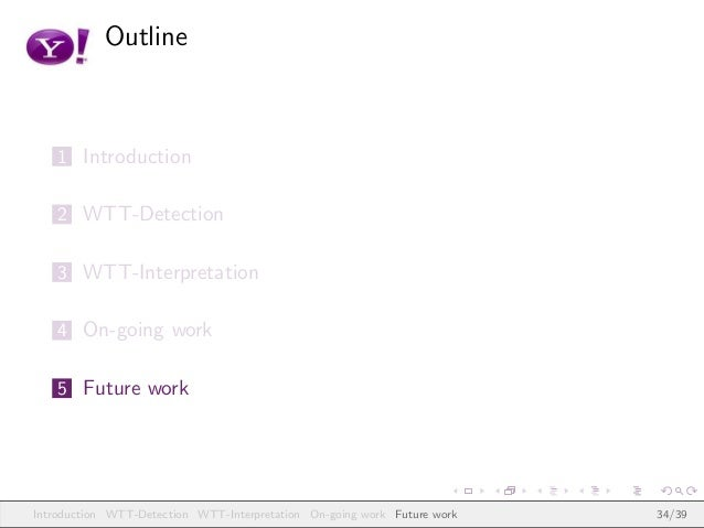 Outline 1 Introduction 2 WTT-Detection 3 WTT-Interpretation 4 On-going work 5 Future work Introduction WTT-Detection WTT-I...