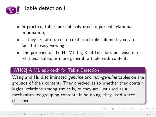 Table detection I In practice, tables are not only used to present relational information, ... they are also used to creat...