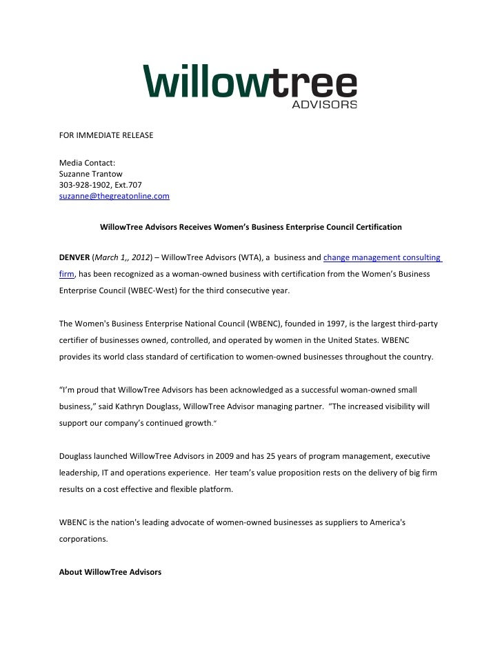 Press Release Willowtree Advisors Wbenc Certification