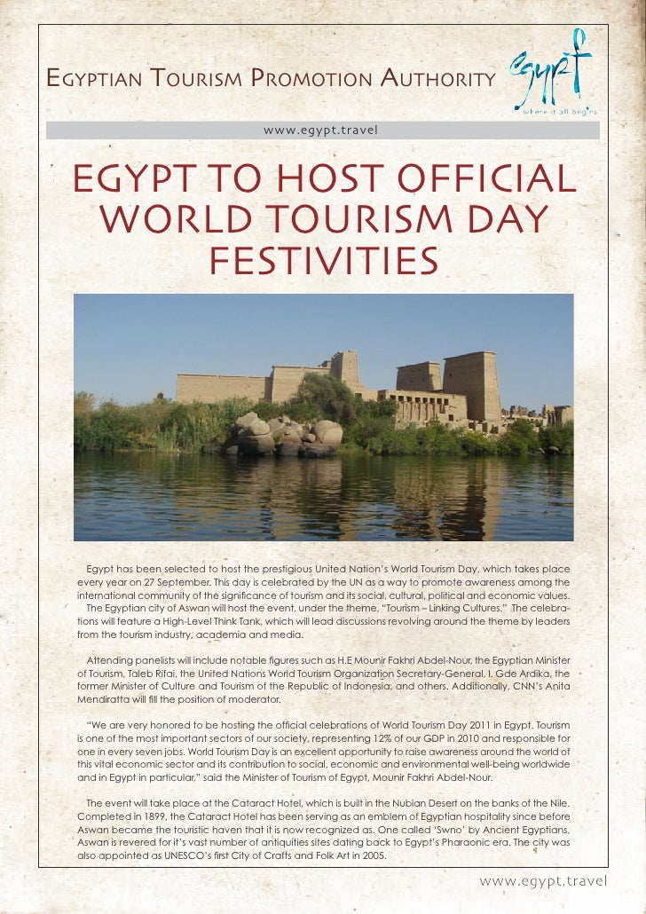 Egyptian tourism promotion authority                                            www.egypt.travel  Egypt to Host official  ...
