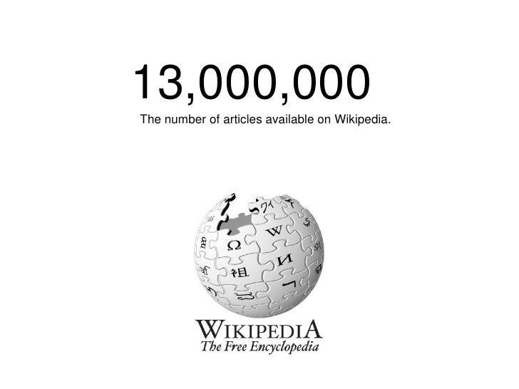 13,000,000 The number of articles available on Wikipedia.