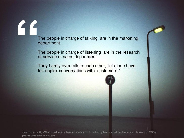 """""""               The people in charge of talking are in the marketing                 department.                  The peop..."""