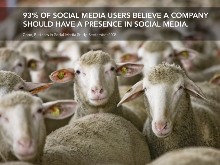 93% OF SOCIAL MEDIA USERS BELIEVE A COMPANY SHOULD HAVE A PRESENCE IN SOCIAL MEDIA. Cone, Business in Social Media Study, ...