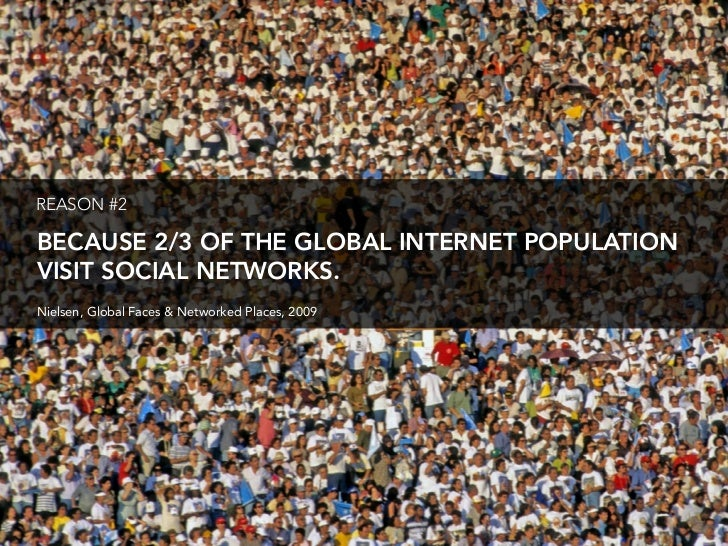 REASON #2  BECAUSE 2/3 OF THE GLOBAL INTERNET POPULATION VISIT SOCIAL NETWORKS. Nielsen, Global Faces & Networked Places, ...