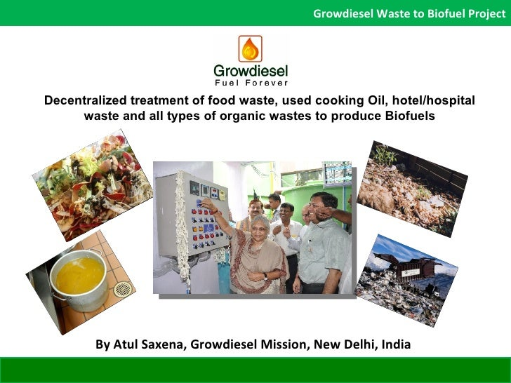 Decentralized treatment of food waste, used cooking Oil, hotel/hospital waste and all types of organic wastes to produce B...