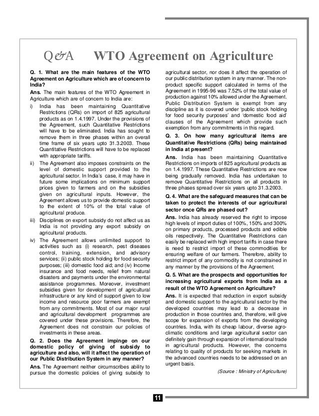 wto agreement on agriculture india Hbf-twn trade & gender briefs 1 11 the gender impact of the wto and free trade agreements in indian agriculture over the past two decades, india has followed a.