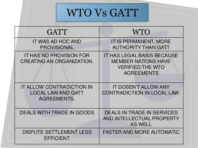 wto gatt Gatt has been refined since its initial introduction and eventually led to the creation of the world trade organization on jan 1, 1995 with 123 member countries the council for trade in goods .