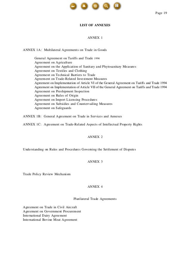 Wto main 11 page 19 list of annexes annex 1 annex 1a multilateral agreements on trade in goods platinumwayz